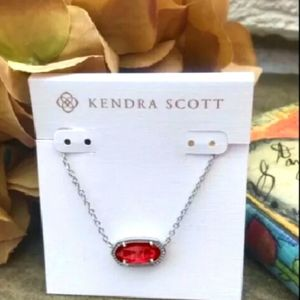 Kendra Scott Elise Berry Silver Necklace & Pouch